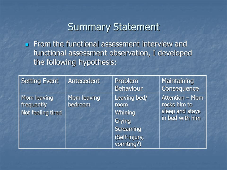Summary Statement From the functional assessment interview and functional assessment observation, I developed the following hypothesis: