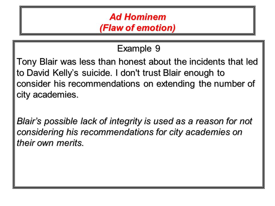 Ad Hominem (Flaw of emotion)