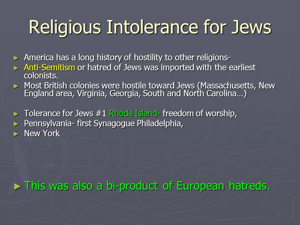 Religious Intolerance for Jews