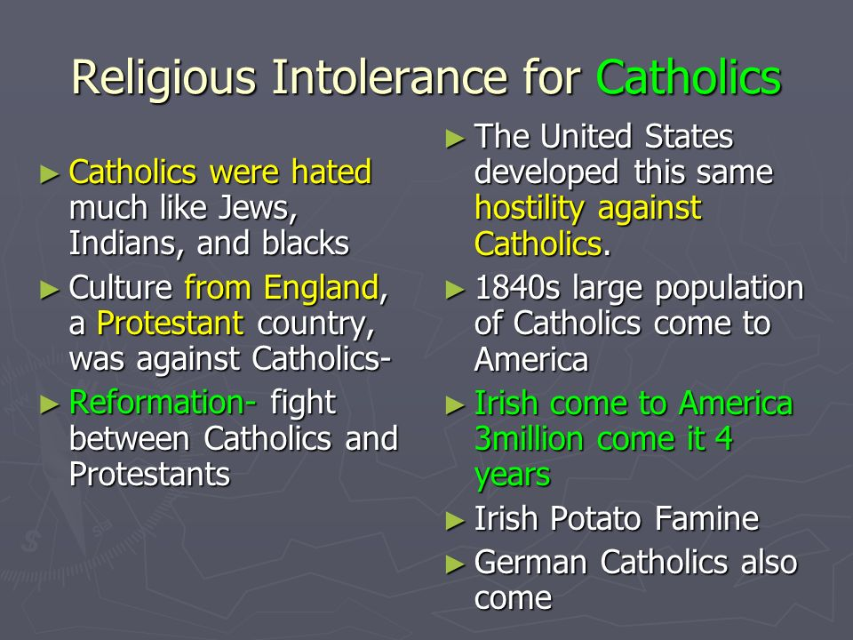 Religious Intolerance for Catholics