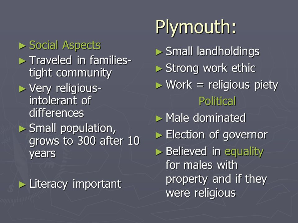Plymouth: Social Aspects Small landholdings