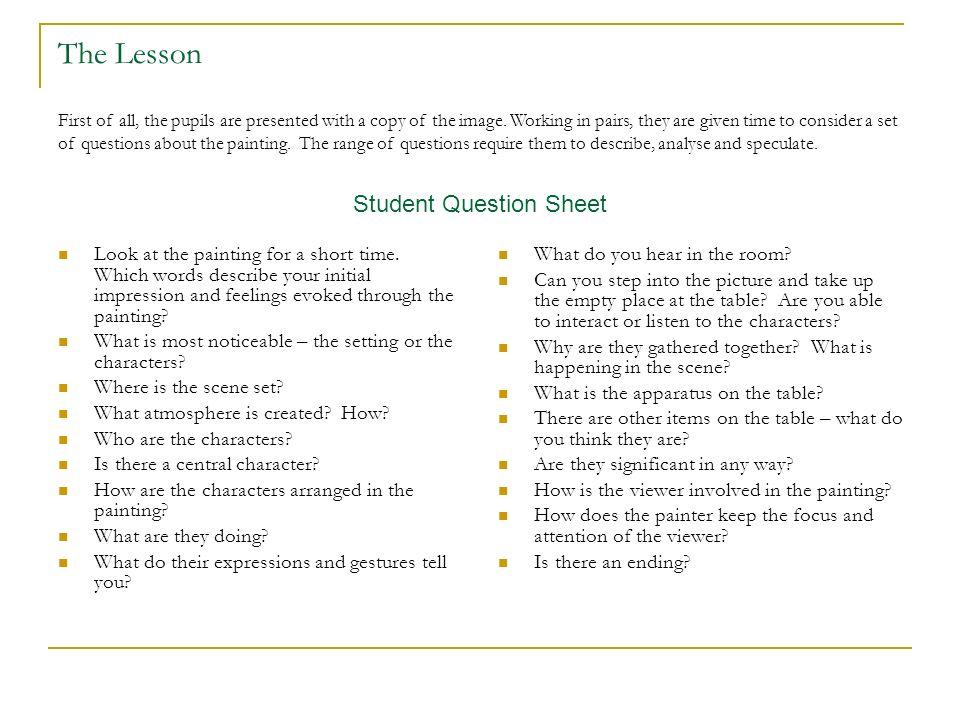 Student Question Sheet