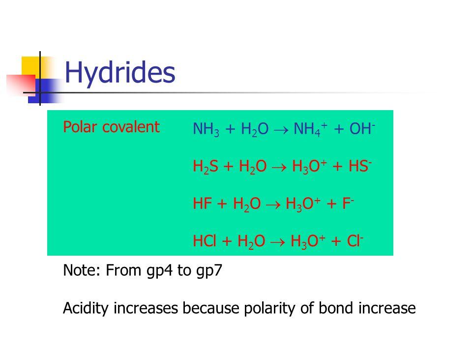 Hydrides Polar covalent NH3 + H2O  NH4+ + OH- H2S + H2O  H3O+ + HS-