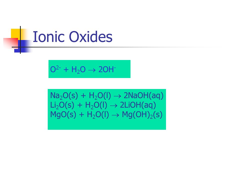 Ionic Oxides O2- + H2O  2OH- Na2O(s) + H2O(l)  2NaOH(aq)