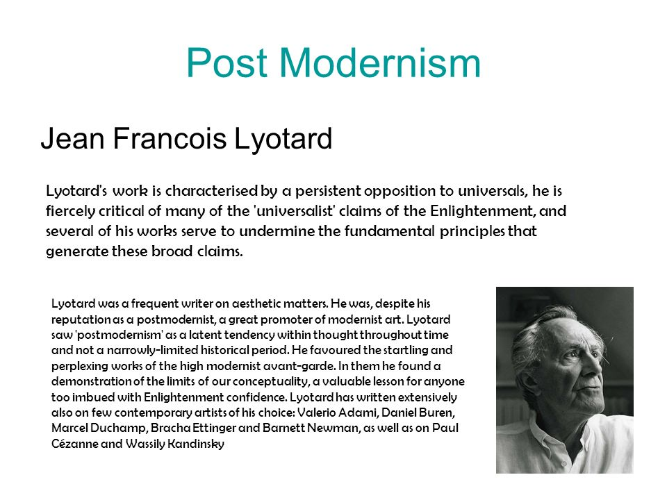 Post Modernism Jean Francois Lyotard