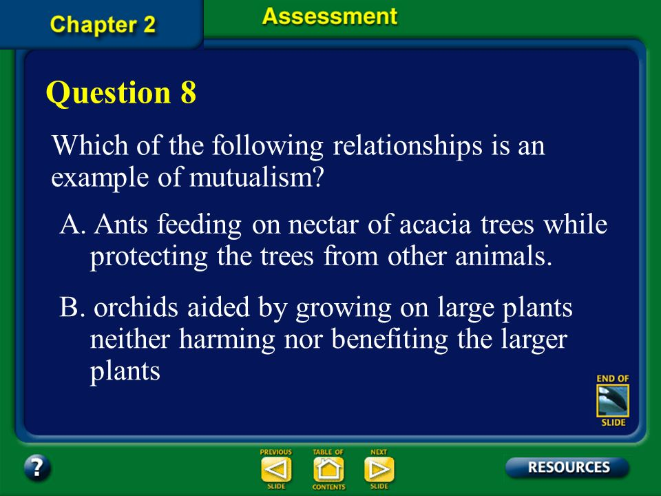 Question 8 Which of the following relationships is an example of mutualism