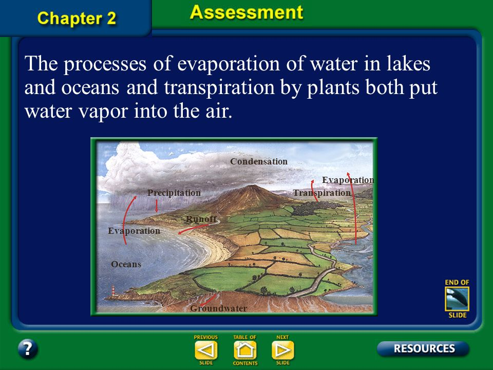 The processes of evaporation of water in lakes and oceans and transpiration by plants both put water vapor into the air.