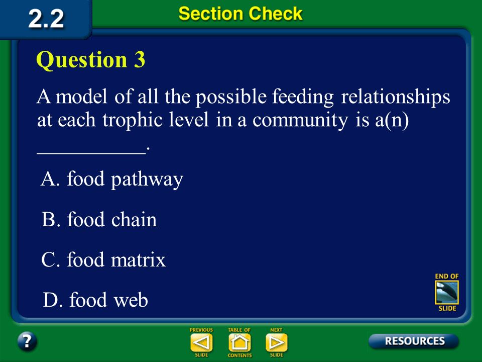 Question 3 A model of all the possible feeding relationships at each trophic level in a community is a(n) __________.