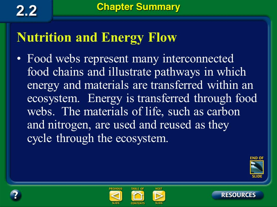 Nutrition and Energy Flow