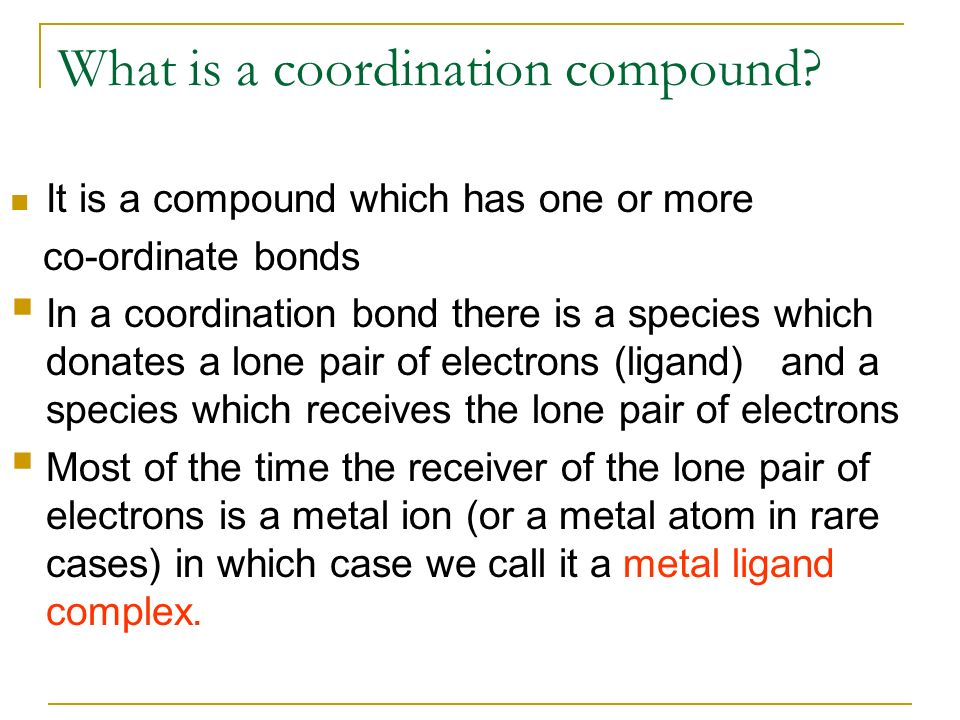 What is a coordination compound