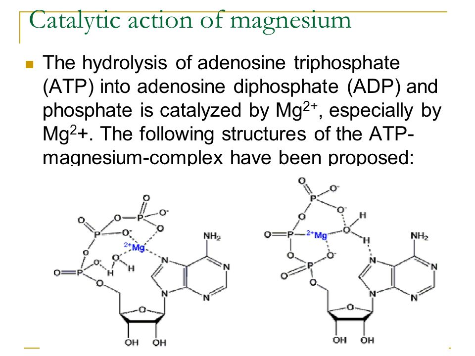 Catalytic action of magnesium
