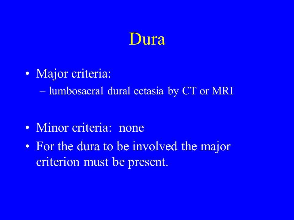 Dura Major criteria: Minor criteria: none