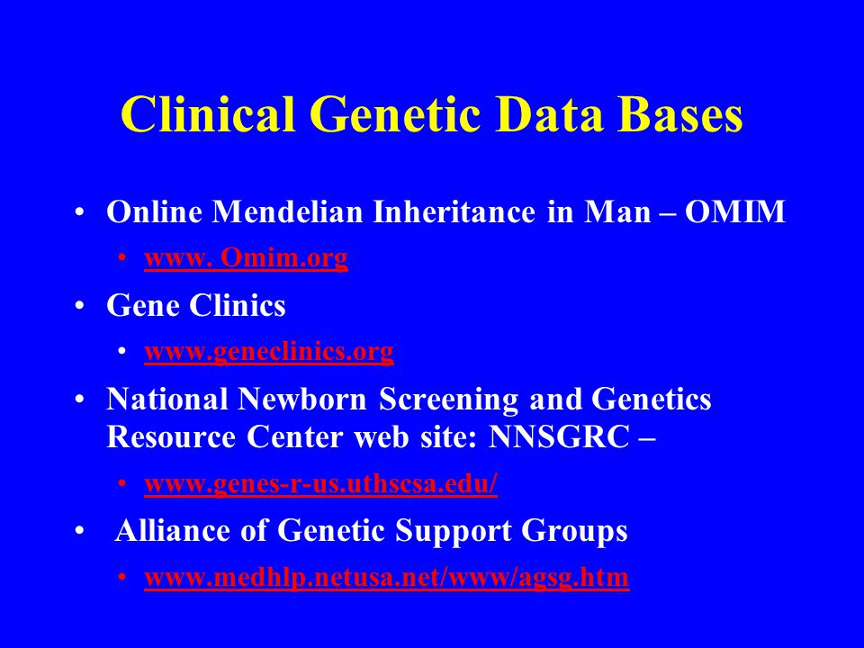 Clinical Genetic Data Bases