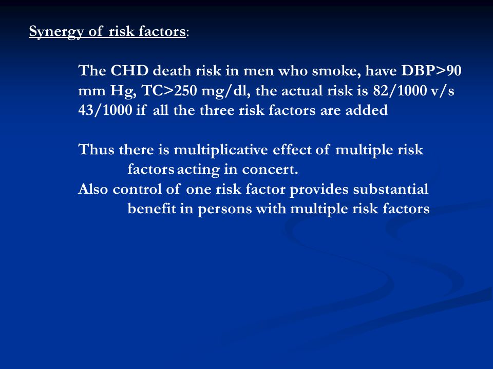 Synergy of risk factors: