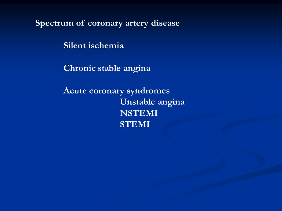 Spectrum of coronary artery disease