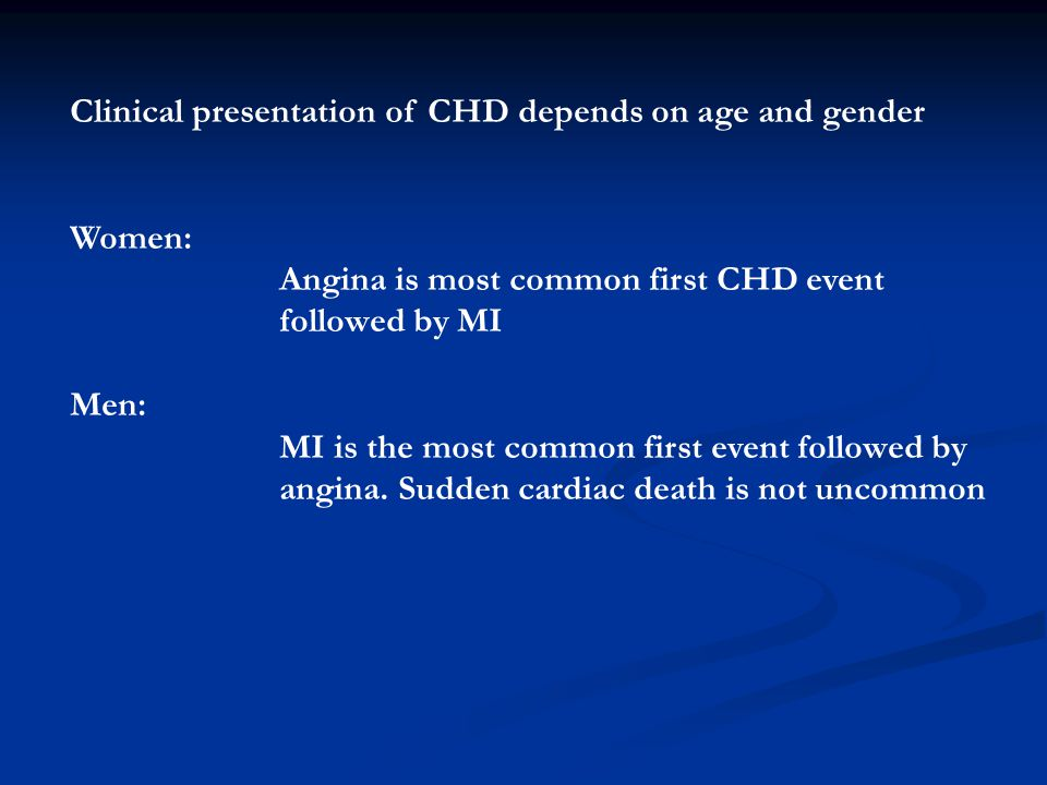Clinical presentation of CHD depends on age and gender