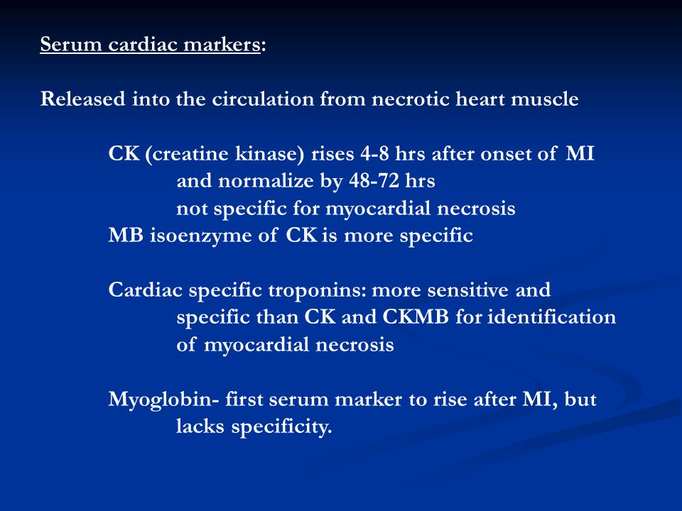 Serum cardiac markers: