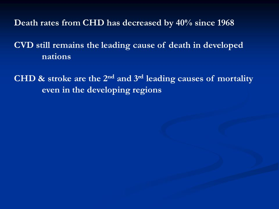 Death rates from CHD has decreased by 40% since 1968