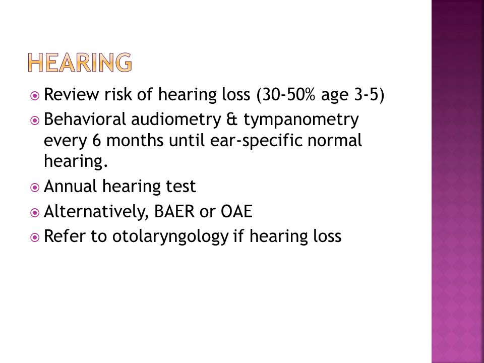 Hearing Review risk of hearing loss (30-50% age 3-5)