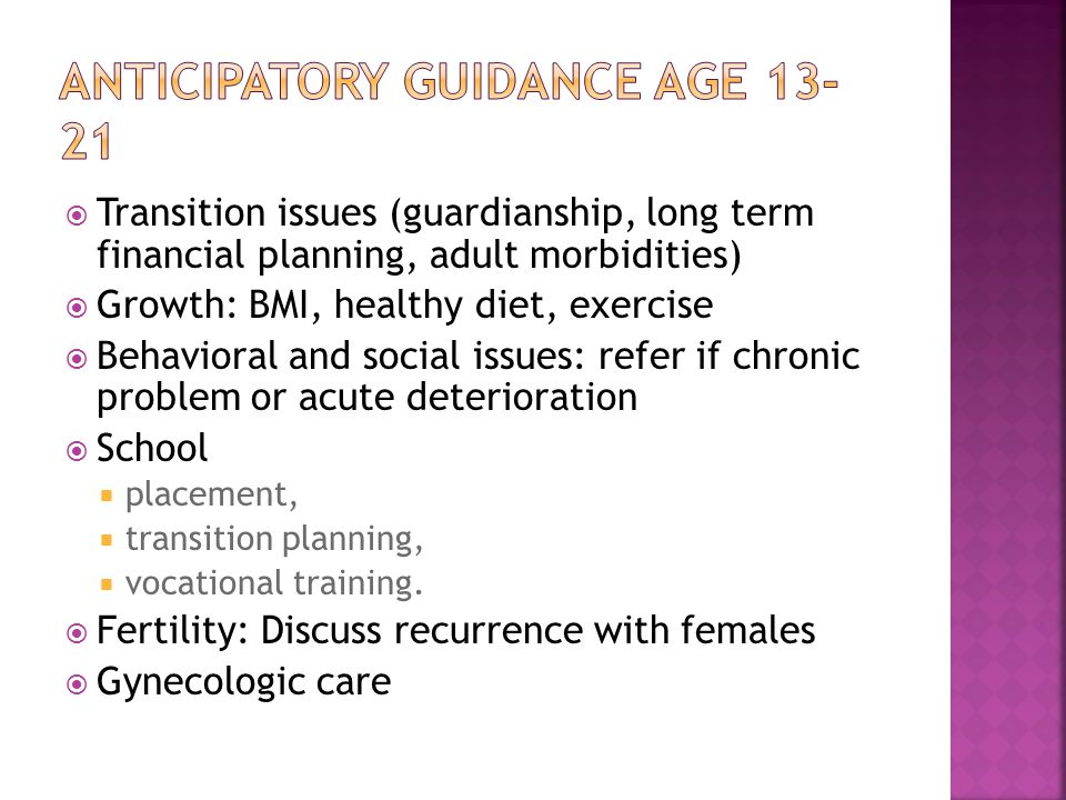 Anticipatory guidance age 13-21