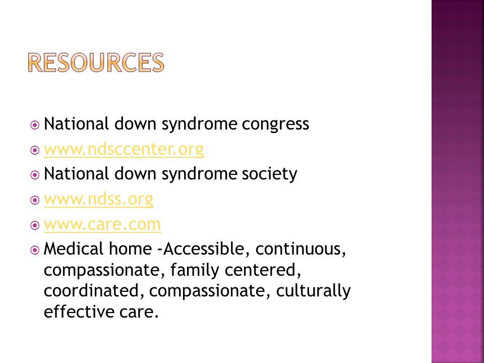 Resources National down syndrome congress www.ndsccenter.org