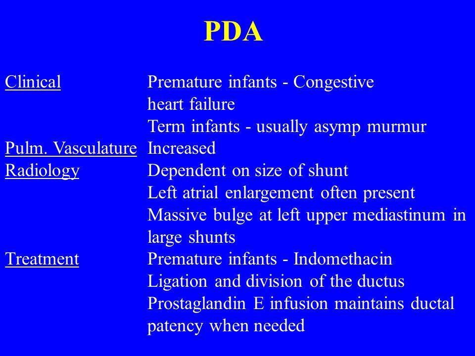 PDA Clinical Premature infants - Congestive heart failure