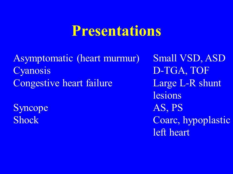 Presentations Asymptomatic (heart murmur) Small VSD, ASD