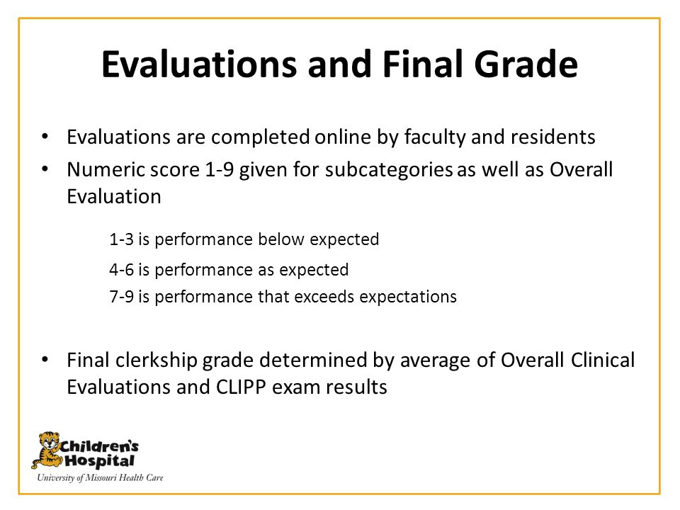 Evaluations and Final Grade
