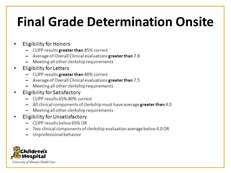 Final Grade Determination Onsite