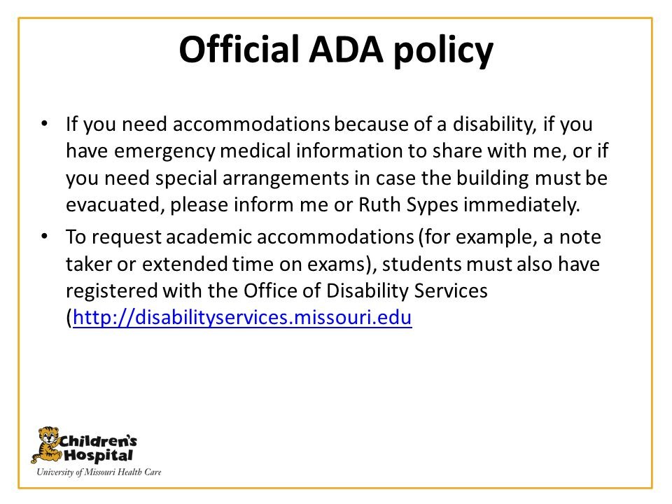 Official ADA policy