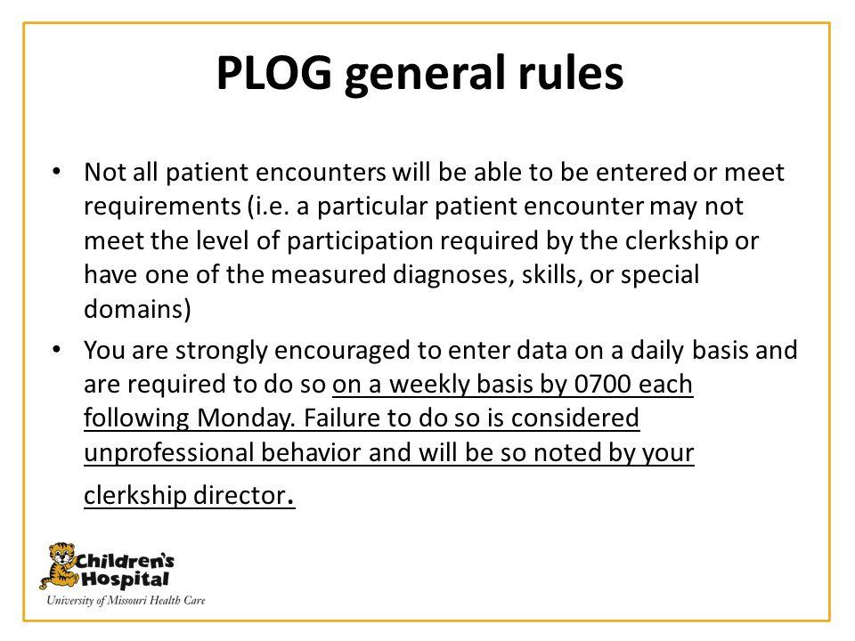 PLOG general rules