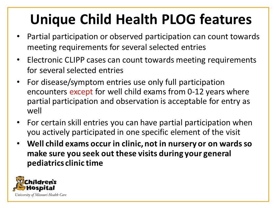 Unique Child Health PLOG features