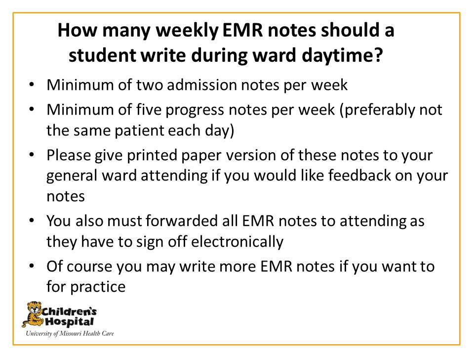 How many weekly EMR notes should a student write during ward daytime