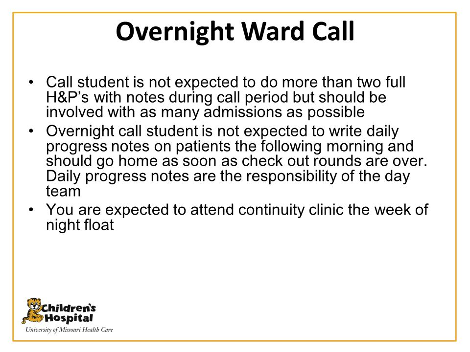 Overnight Ward Call