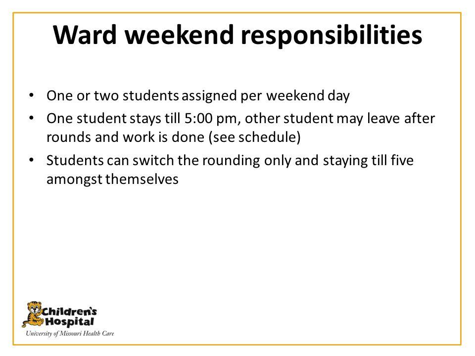 Ward weekend responsibilities