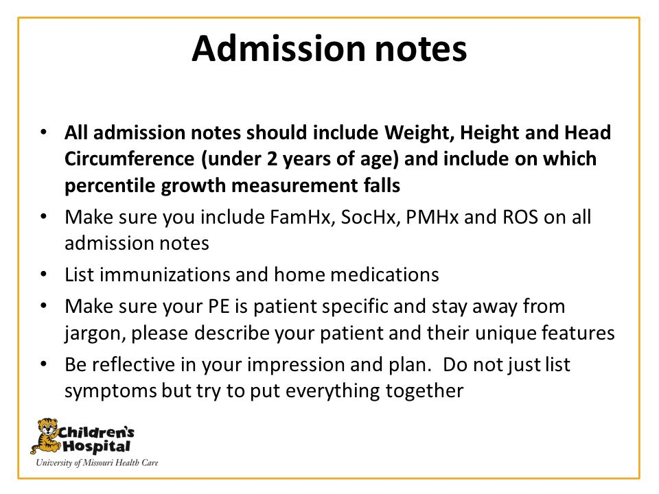 Admission notes