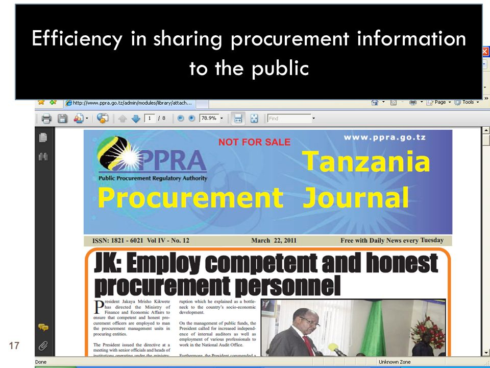 Efficiency in sharing procurement information to the public