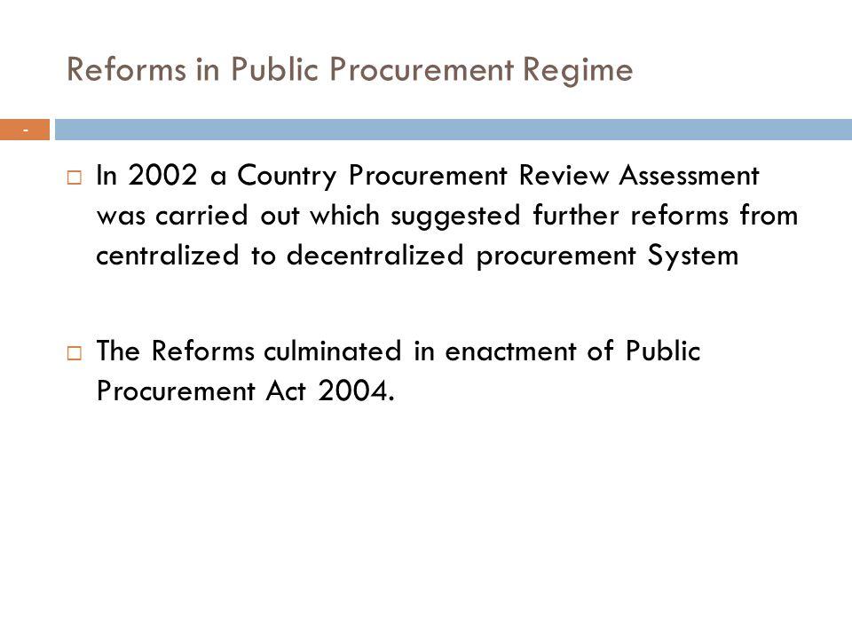 Reforms in Public Procurement Regime