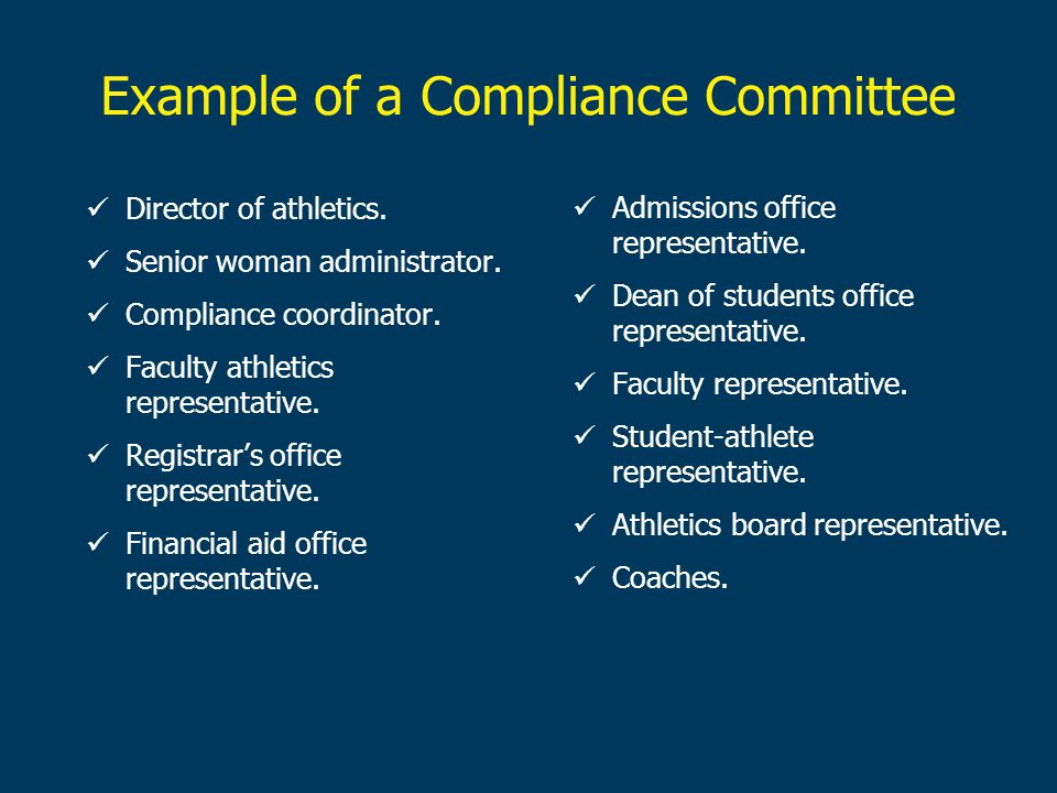 Example of a Compliance Committee