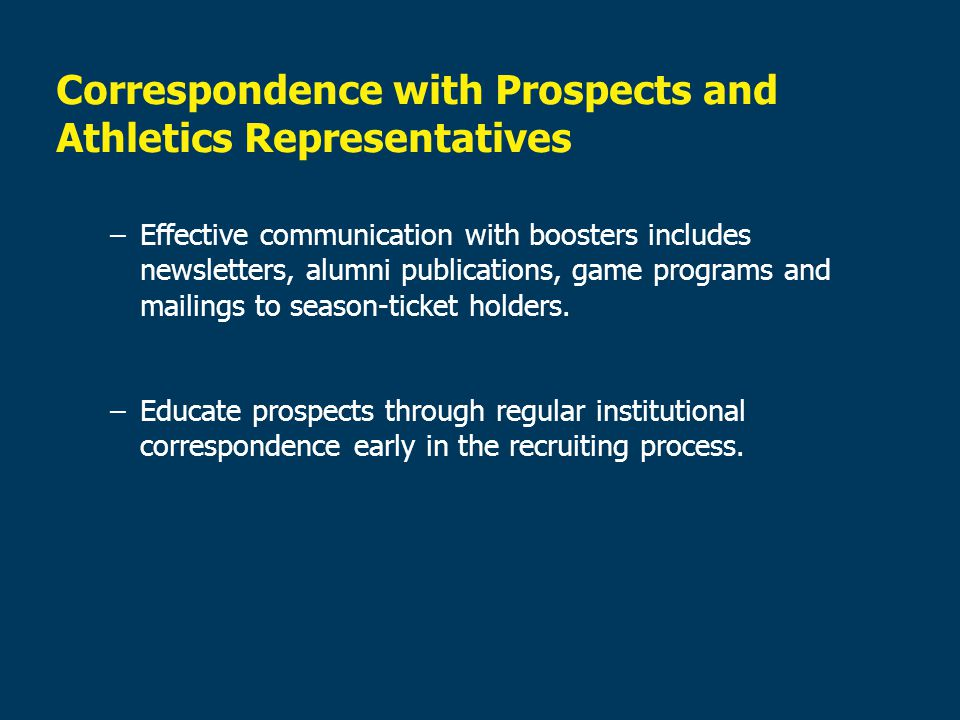 Correspondence with Prospects and Athletics Representatives