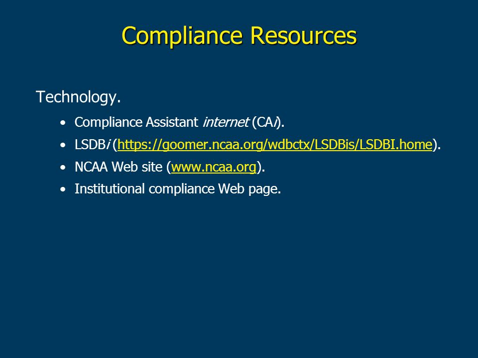Compliance Resources Technology. Compliance Assistant internet (CAi).