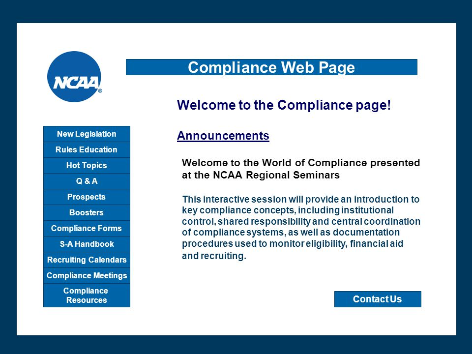 Compliance Web Page W Welcome to the Compliance page! Announcements