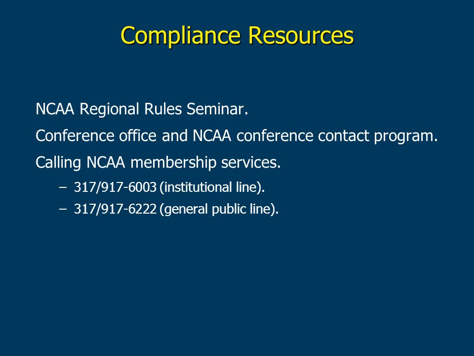 Compliance Resources NCAA Regional Rules Seminar.