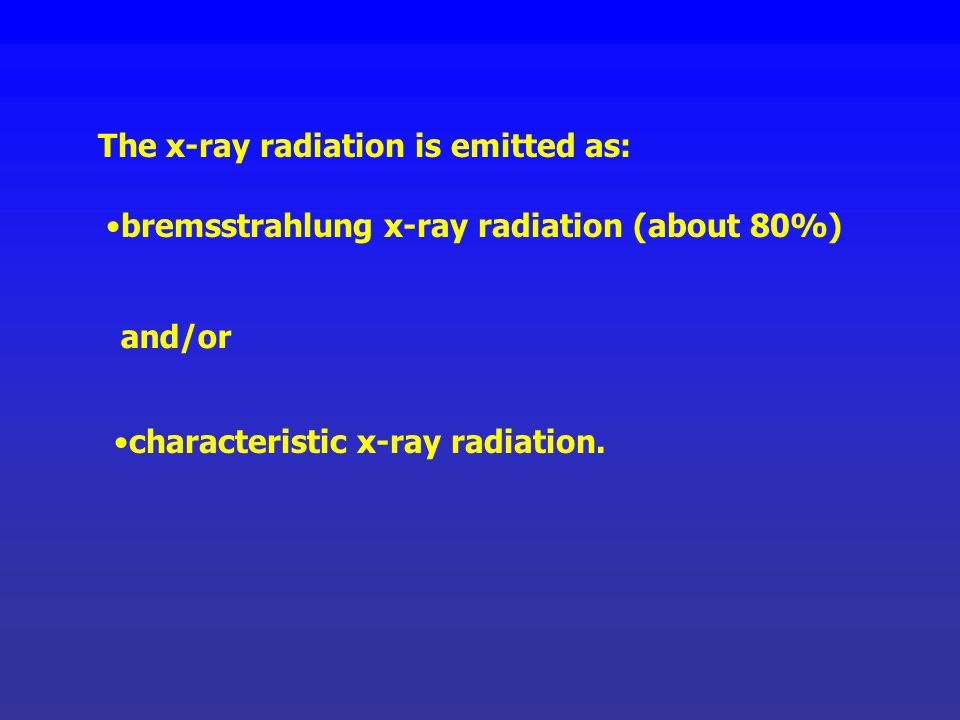 The x-ray radiation is emitted as:
