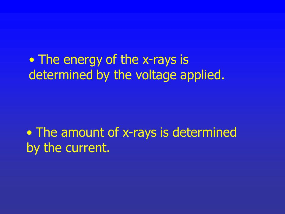 The energy of the x-rays is determined by the voltage applied.