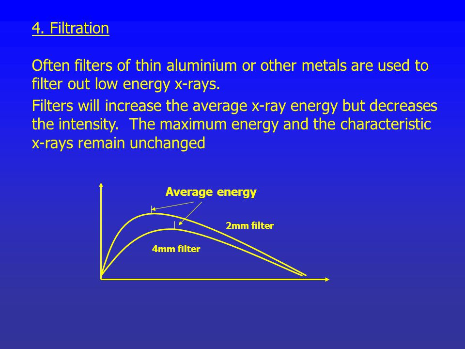 4. Filtration Often filters of thin aluminium or other metals are used to filter out low energy x-rays.