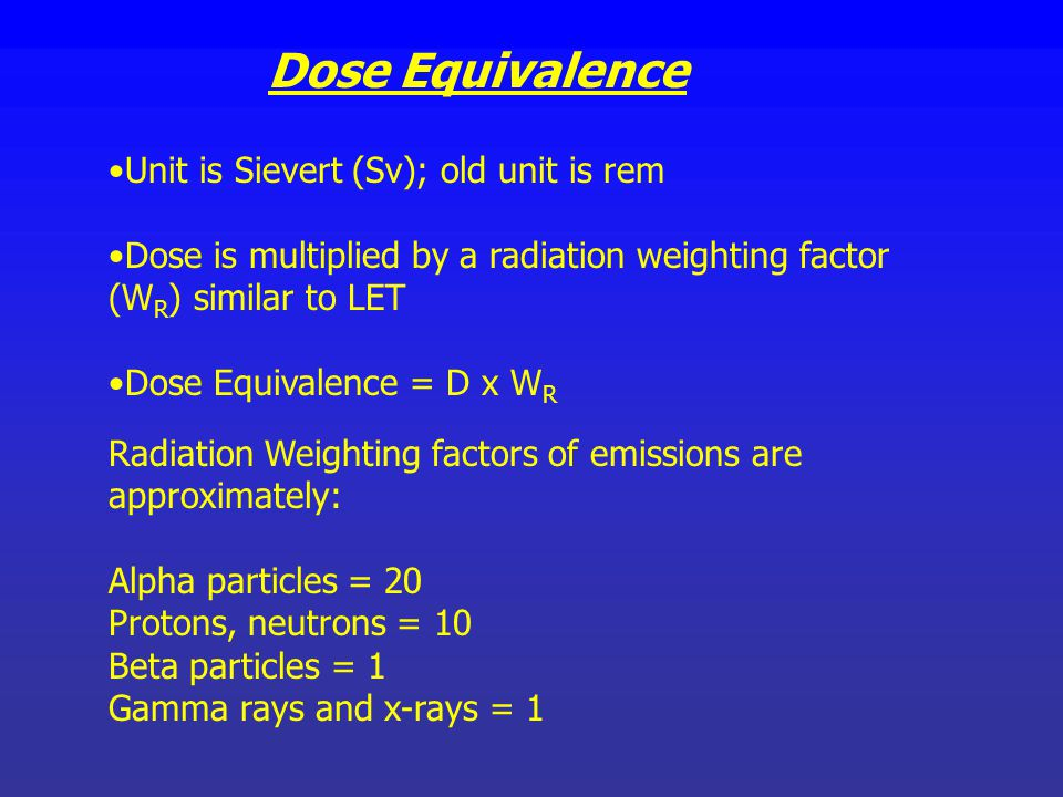 Dose Equivalence Unit is Sievert (Sv); old unit is rem
