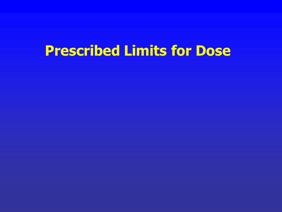 Prescribed Limits for Dose