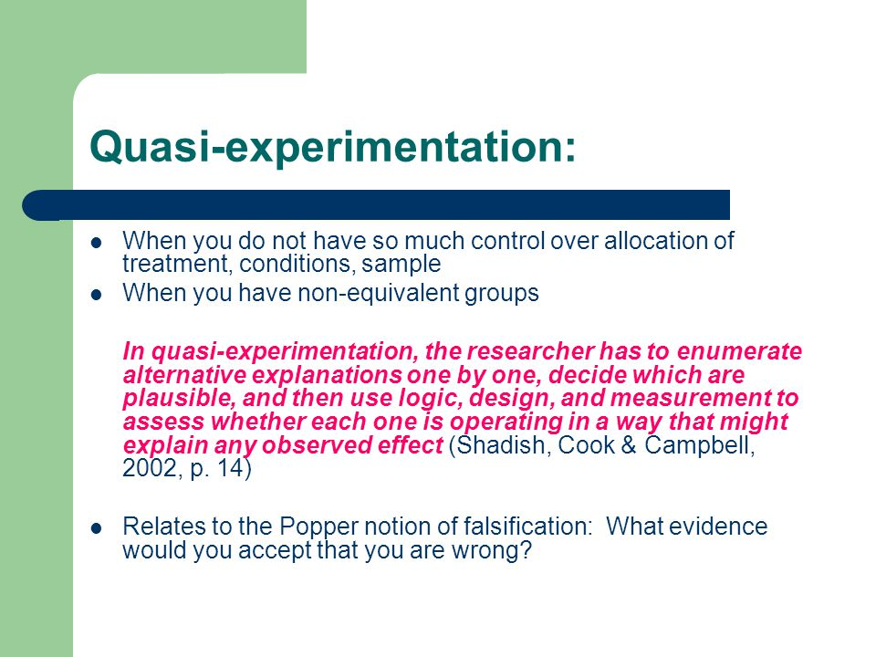 Quasi-experimentation: