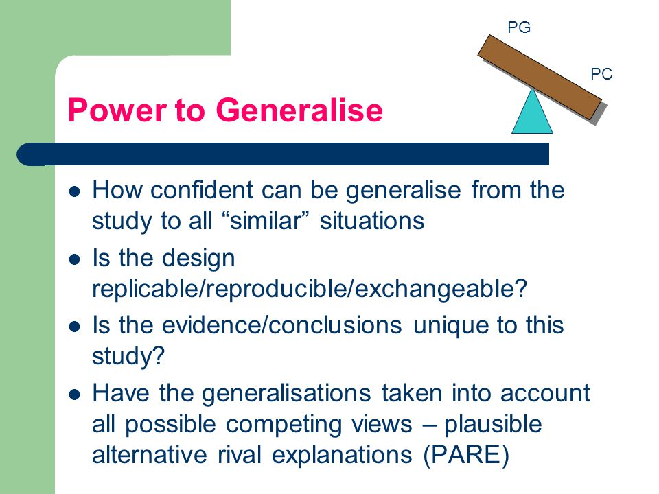 PG Power to Generalise. PC. How confident can be generalise from the study to all similar situations.